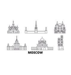 russia moscow line travel skyline set russia vector image