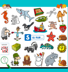 S is for educational game for children vector