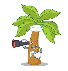 Sailor with binocular palm tree character cartoon vector