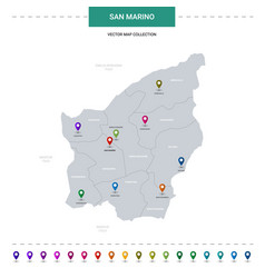 San marino map with location pointer marks vector
