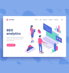 Seo analytics concept office people and interact vector