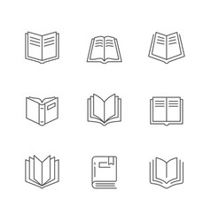 set line icons book vector image