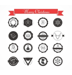 Set of labels designs and elements for Christmas vector image