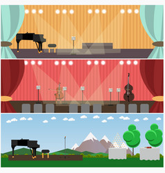 Set of orchestra interior concept flat vector