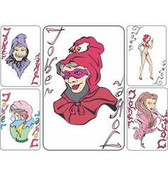 Set of playing cards with jokers as witches vector