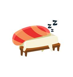 Sleeping Funny Maki Sushi Character vector image