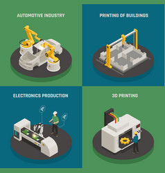 Smart manufacturing isometric icons concept vector