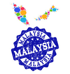 Social network map of malaysia with message clouds vector