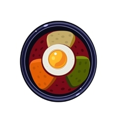 Soup with Toasts and Fried Egg Served Food vector
