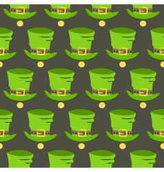 St Patrick Day hat and gold seamless pattern vector