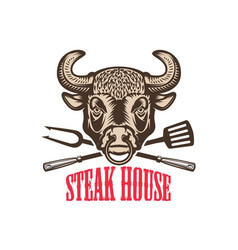 Steak house bull head with kitchen tools design vector