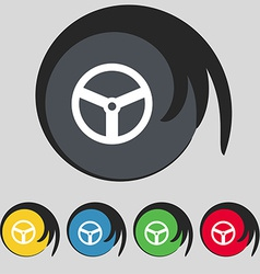 Steering wheel icon sign Symbol on five colored vector