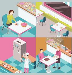 sweet shop isometric design concept vector image