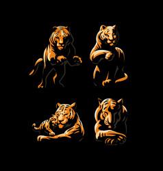 Tigers and tiger cub vector