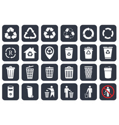 trash can icons set and recycle symbols vector image