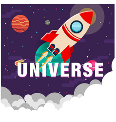 Universe rocket flying in space background vector