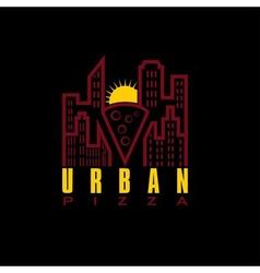 urban pizza with sun design template vector image