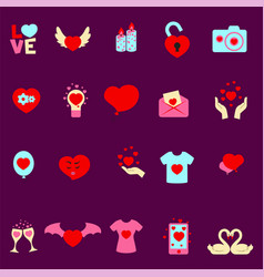 valentine s day set cartoon flat icons vector image