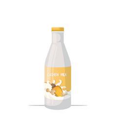 vegan cashew plant based milk glass bottle organic vector image