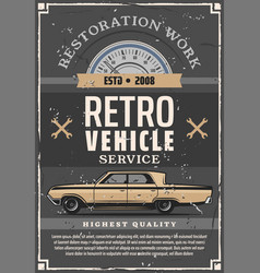 Vintage car and mechanic tool auto repair service vector