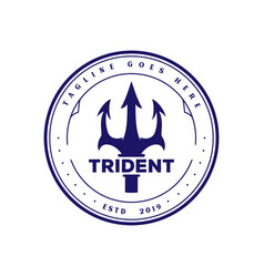 Vintage retro trident neptune god poseidon triton vector