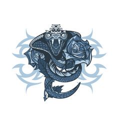 vintage tattoo design queen cobra wrapped rose vector image