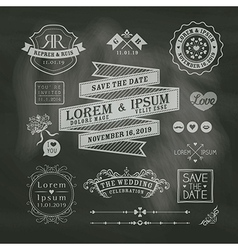 Vintage Wedding frames on chalkboard background vector image