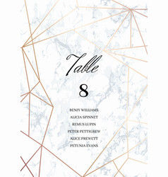 Wedding template seating card with guest list vector