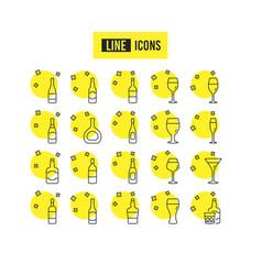 wine bottles line icons set of craft beer vector image