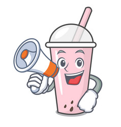with megaphone raspberry bubble tea character vector image