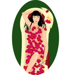 Woman takes a bath with rose petals and drinks vector