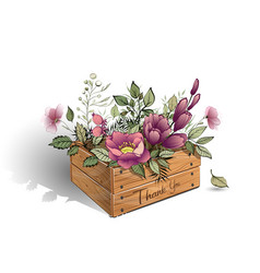 Wooden box with a bouquet of beautiful flowers vector