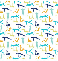 yoga poses and health care pattern for fitness vector image