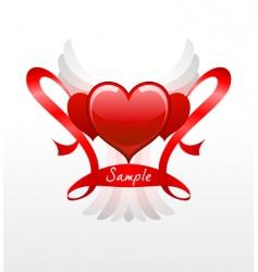 hearts and ribbons vector image vector image
