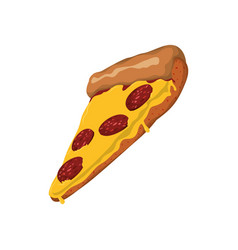 Pizza pepperoni slice vector