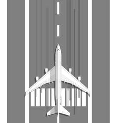 plane standing on landing strip vector image