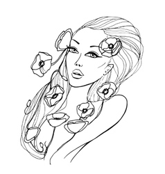 Portrait of beautiful young woman vector image