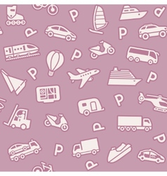 seamless background transport icons vector image vector image