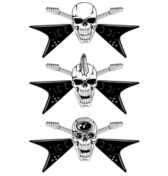 skull with guitars vector image
