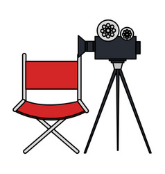 Video camera cinema with director chair vector