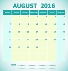 Calendar August 2016 week starts Sunday vector image vector image