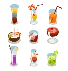 Cocktail icons isometric vector image vector image