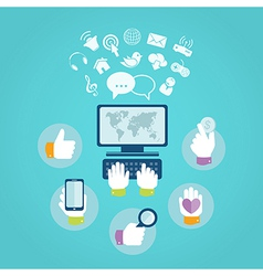 Flat design concept of computer and internet vector image