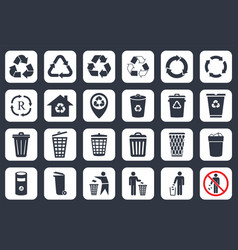 recycle icons and trash signs vector image