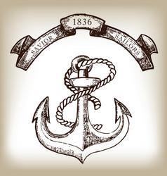 vintage hand drawn anchor and ribbon vector image