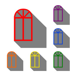 window simple sign set of red orange yellow vector image