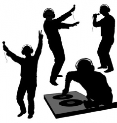 dj silhouettes vector image vector image