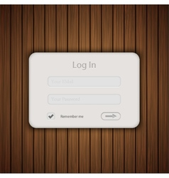 login form on wooden background Eps 10 vector image
