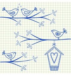 birdhouse birds doodle squared paper vector image