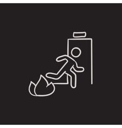 Emergency fire exit door sketch icon vector image